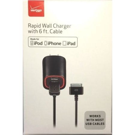 Apple Iphone 3g Wall (Verizon MFI Apple Certified 2.1 AMP Rapid Power Wall Charger For Apple iPhone 4 / 4S, 3G / 3GS iPad 1, 2, 3, & 4, iPod Touch 4th & Nano)