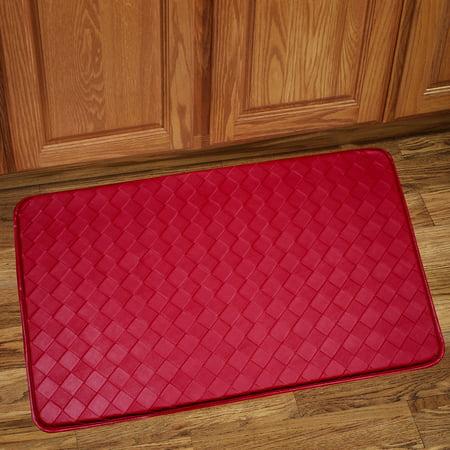 Memory Foam Anti Fatigue Kitchen Floor Mat Rug 30 x 18 - Diamond Red ()