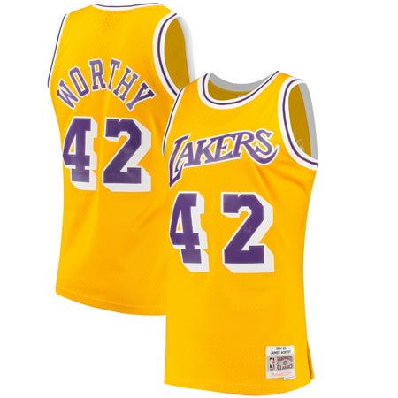 brand new 35a16 1b0e2 James Worthy Los Angeles Lakers Mitchell & Ness Hardwood Classics Swingman  Jersey - Gold - S