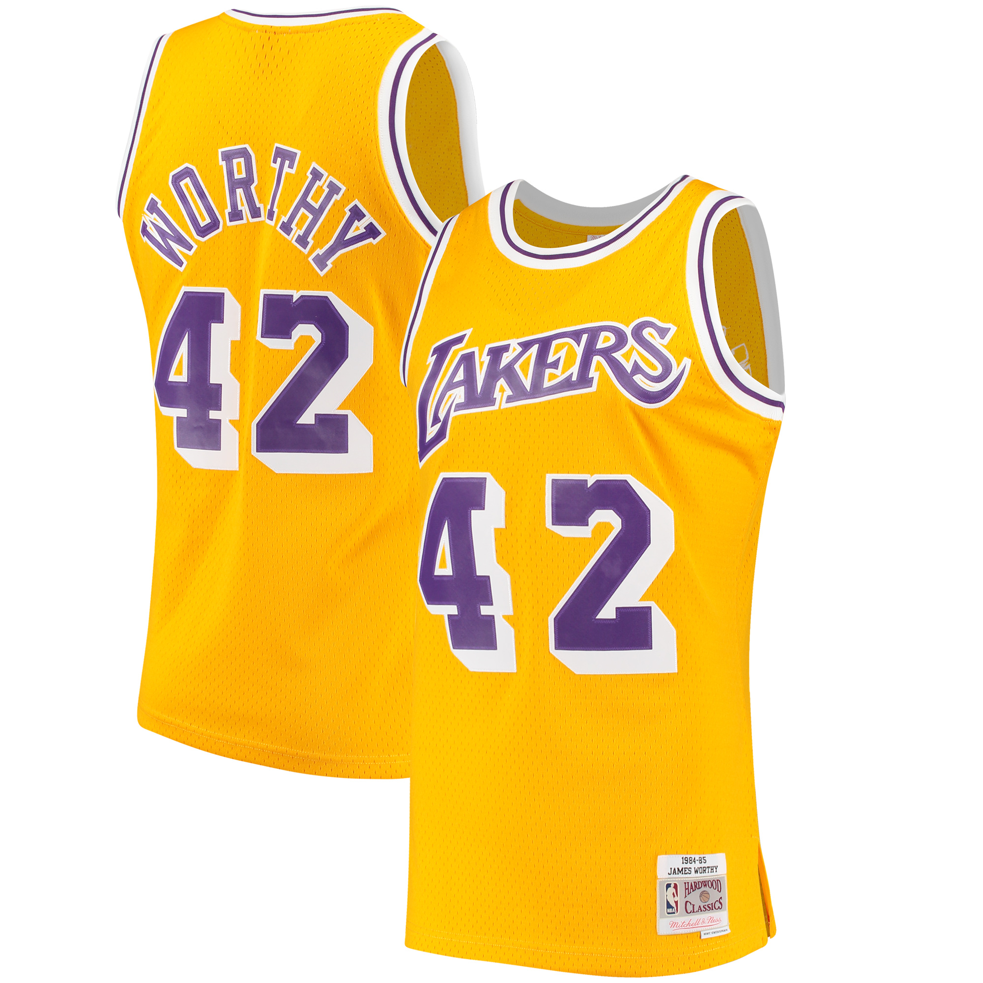 James Worthy Los Angeles Lakers Mitchell & Ness Hardwood Classics Swingman Jersey - Gold - S