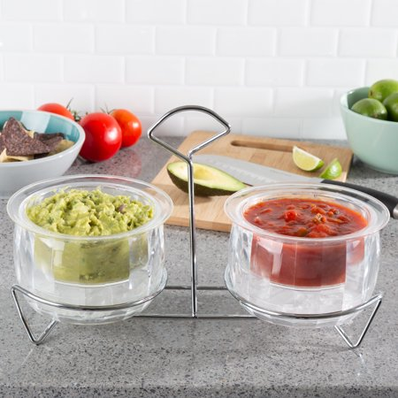 - Cold Dip Bowls-2 Chilled Serving Containers with Ice Chambers and Caddy Carrier Stand-For Dip, Dressing, Salsa, Guacamole, and More by Classic Cuisine