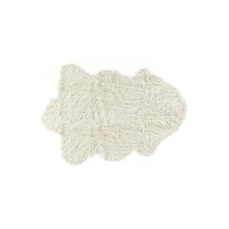 Aria Single (Rockwall Mongolian Sheepskin Faux Fur Single Rug, 2' x 3' )