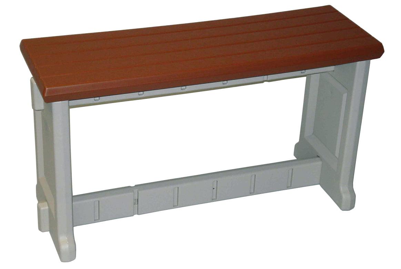 """NEW Leisure Accents 36"""" Long Outdoor Indoor Deck Patio Resin Bench  Redwood/Beige - Walmart.com"""