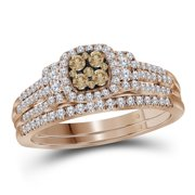 14kt Rose Gold Womens Round Cognac-brown Diamond Bridal Wedding Engagement Ring Band Set 1 2 Cttw