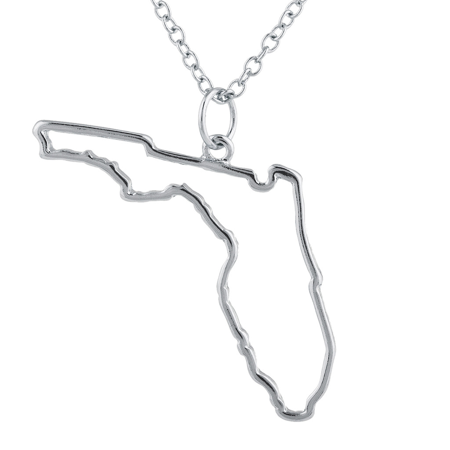 Florida State Jewelry (Lux Accessories Silvertone Florida State Outline Novelty Charm)