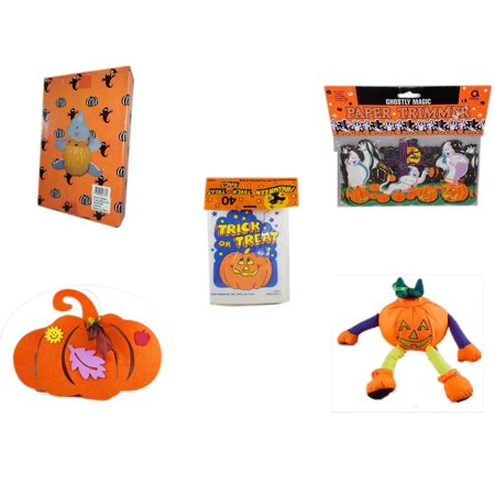 Halloween Fun Gift Bundle [5 Piece] -  Ghost Pumpkin Push In 5 Piece Head Arms Legs - Ghostly Magic Paper Trimmer 3.75 in x 9 ft. -  Trick or Treat Bags 40/ct -  Felt Pumpkin Decoration - Pumpkin Or - Fun Treats To Make For Halloween