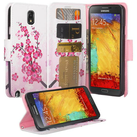 Cherry Blossom Note - Galaxy Note 3 Case, Samsung Galaxy Note 3 Luxury PU Wrist Strap Leather Wallet Flip Protective Case Cover with Card Slots and Stand for Note 3 - Cherry Blossom
