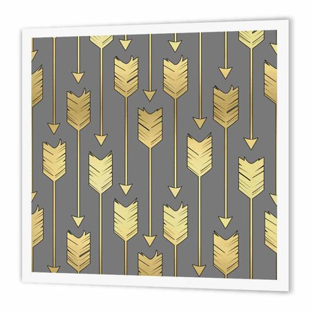 3dRose Grey and Gold Arrows Pattern, Iron On Heat Transfer, 10 by 10-inch,  For White Material