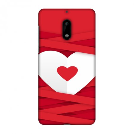 Nokia 6 Case, Premium Handcrafted Printed Designer Hard ShockProof Case Back Cover with Screen Cleaning Kit for Nokia 6 - Heart In Ribbons