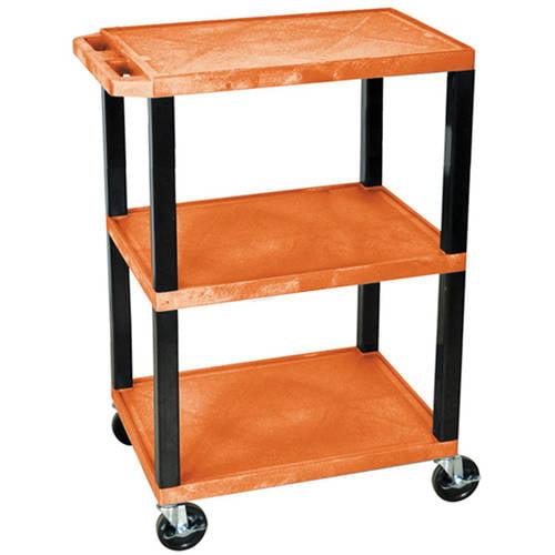 H. Wilson Tuffy 3-Shelf Utility Cart, Orange Shelves and Black Legs