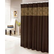 """Chocolate Brown Faux Silk Shower Curtain with 14"""" Textured and Circle Patterned Stripe"""