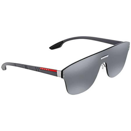 Prada Silver Lens (Prada Linea Rossa Grey Mirror Silver Rectangular Mens Sunglasses PR PS57TS 7W17W1 43)