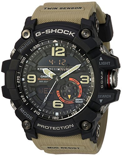Casio G-Shock Black Dial Tan Resin Strap Mens Watch GG1000-1A5