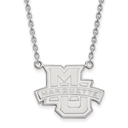 Marquette Chain - 14k White Gold Marquette University Large Pendant w/Necklace