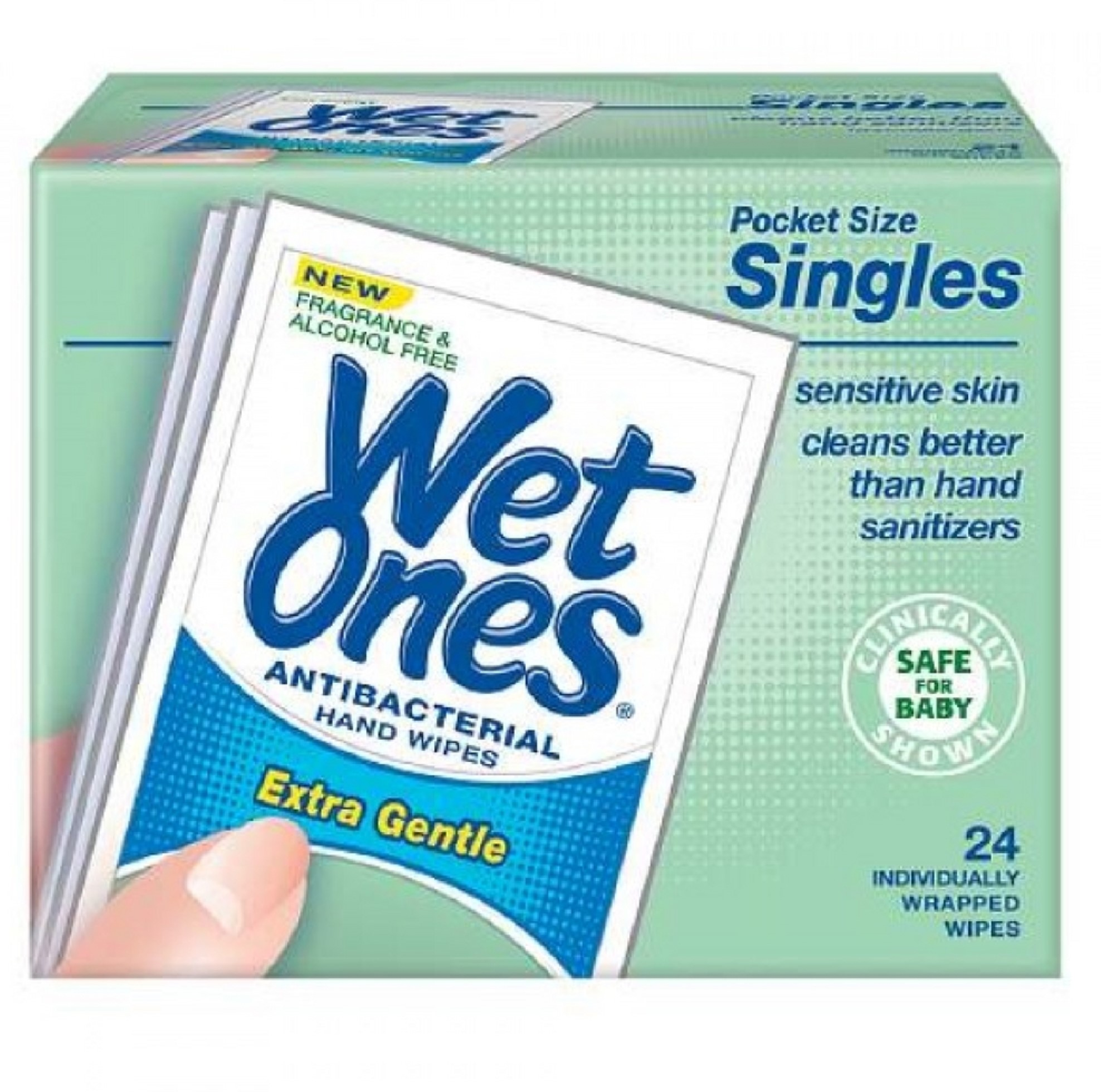 4 Pack - WET ONES Sensitive Skin Hand Wipes, Singles Extra Gentle Fragrance & Alcohol Free  24 ea