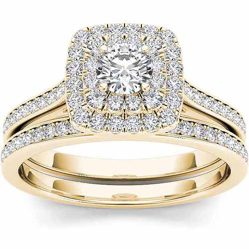 Imperial 3 4 Carat T.W. Diamond 10kt Yellow Gold Double Halo Engagement Ring Set by Imperial Jewels