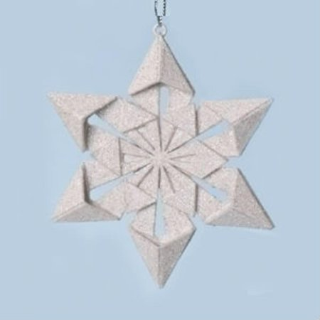 """4"""" Holy Night Origami Style Star Point Glittered Snowflake Christmas Ornament"""