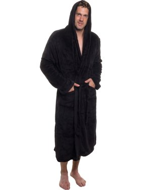 ROSS MICHAELS Mens Plush Shawl Collar Kimono Hooded Bath Robe (Black, L/XL)