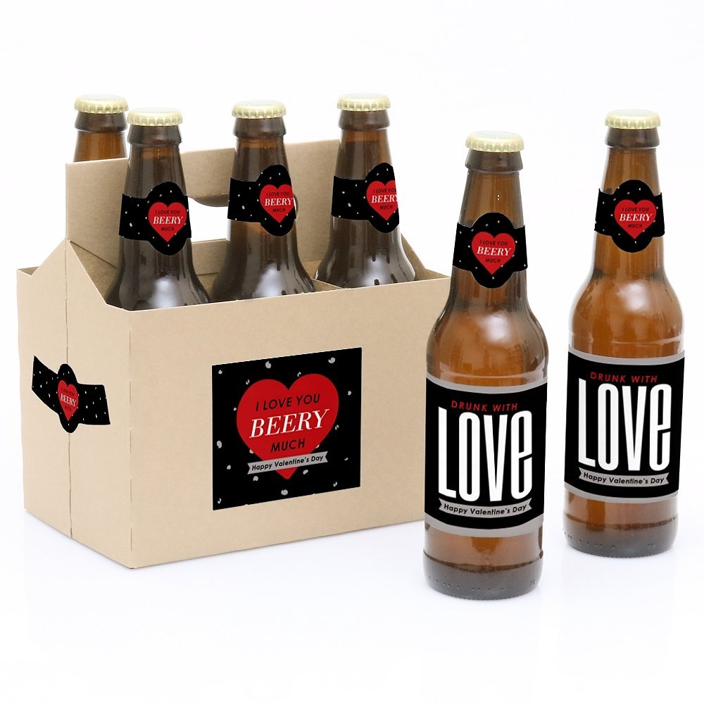 Valentine's Day - 6 Beer Bottle Labels with 1 Beer Carrier