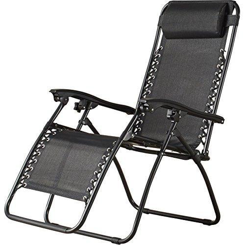 sol maya (1) zero gravity recliner infinity lounge patio pool yard beach chair 1pc chair (black)