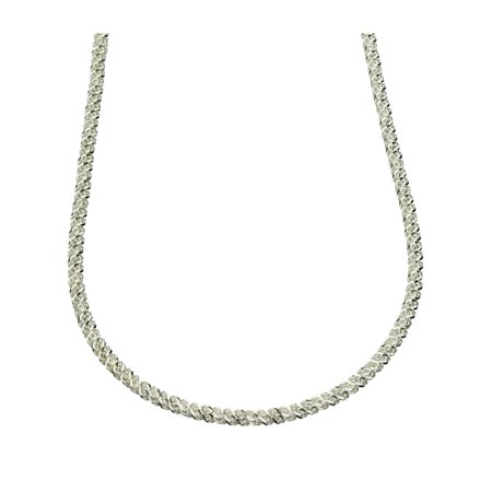 Sterling Silver Diamond-Cut Mesh Chain Necklace Italy, 16