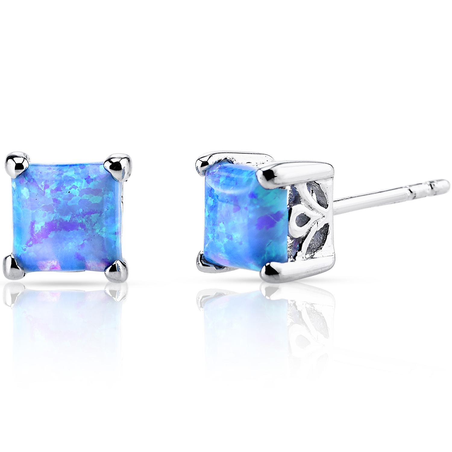 Peora 1.25 Ct Round Shape Blue Opal Sterling Silver Stud Earrings Rhodium Finish
