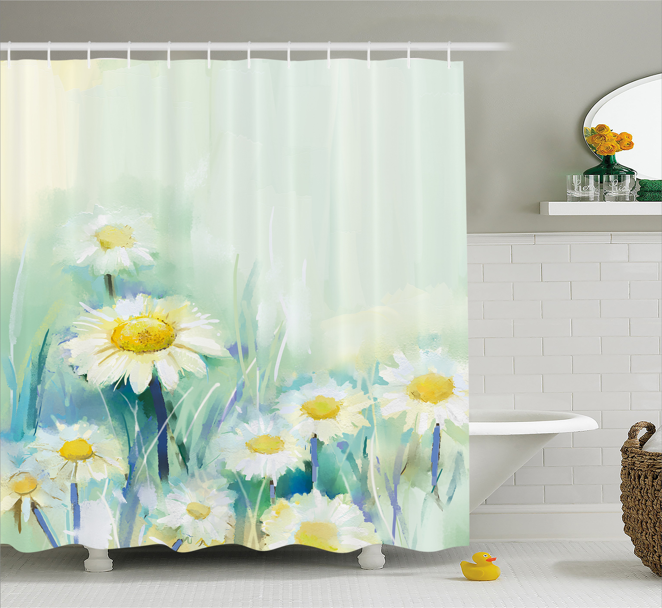 Flower Shower Curtain, Daisies on Grass Mother Earth