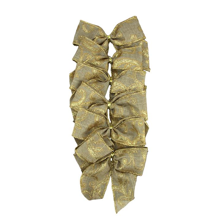 "Pack of 6 Country Rustic Burlap Bow with Gold Scrolls Christmas Decorations 4.5"" x 5"""