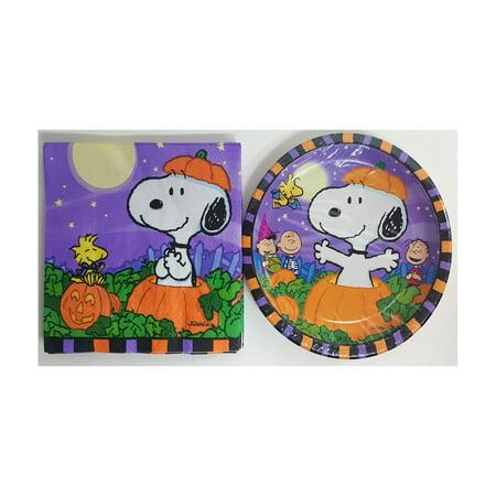 Peanuts Gang Snoopy Halloween Paper 8 Dessert Plates & 14 Napkins Set - Peanuts Gang Halloween