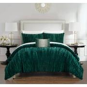 Chic Home Kerk 4 Piece Comforter Set Crinkle Crushed Velvet Bedding, Queen, Navy