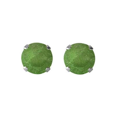 Jewelry Sterling Silver 6.25-mm Dark Green Ice Cubic Zirconia Stud Earrings - image 1 de 1