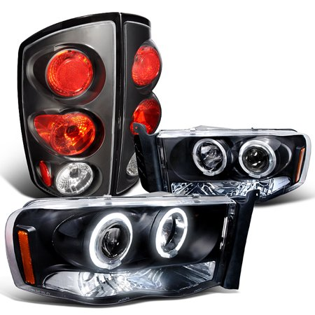 Spec-D Tuning For 2002-2005 Dodge Ram 1500 Led Projector Headlights + Tail Lights Brake Lamps Black Set (Left+Right) 2002 2003 2004