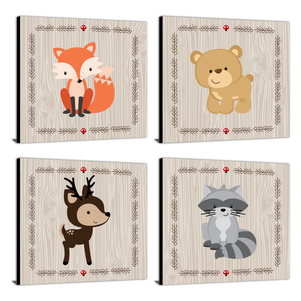 "Woodland Creatures - Nursery Decor - 11"" x 11"" Nursery Wall Art - Set of 4 Prints for Baby's Room"
