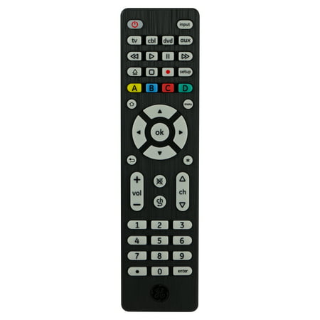 GE Pro 4-Device Universal Remote Control, Brushed Black,