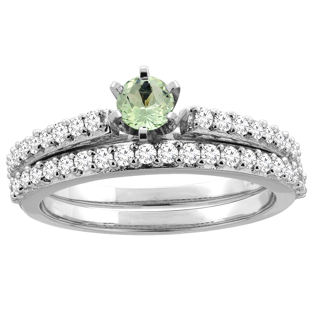 14K White Gold Natural Green Amethyst 2-piece Bridal Ring Set Round 4mm, size 5 by Gabriella Gold