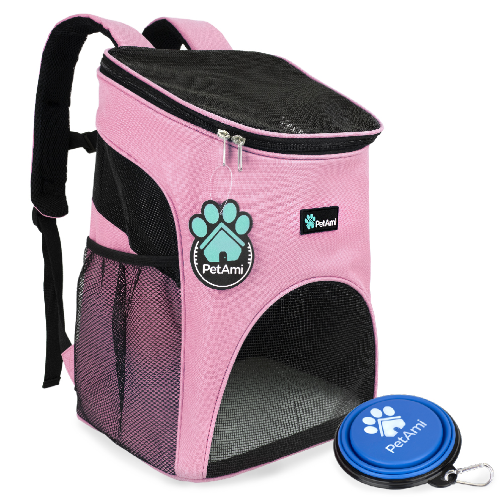 Premium Pet Carrier Backpack for Small Cats and Dogs by PetAmi - Light Blue