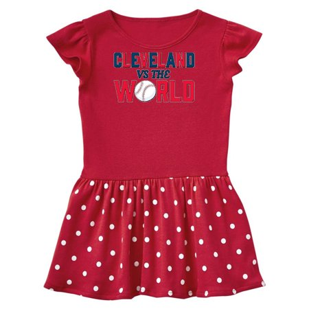 Cleveland Vs. the World blue and red with baseball Toddler Dress](Baseball Dress)
