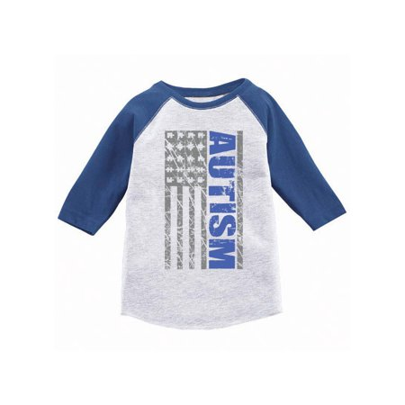Baseball Gifts For Boys (Awkward Styles Autism Awareness Flag Jersey Shirt for Kids Autism U.S.A. Flag 3/4 Sleeve Baseball Shirt Autism Flag Raglan Kids Shirt Autism Flag Gifts for Boys and Girls Autism Shirts)
