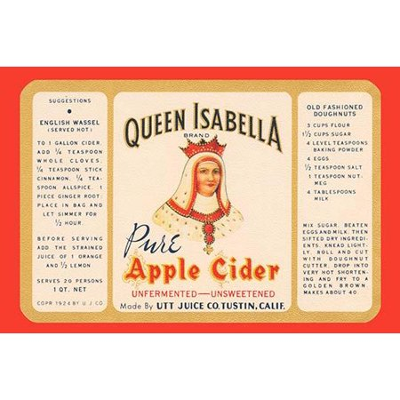 The Utt juice company of Tustin California used this label on its bottles of Queen Isabella brand pure apple cider  The label feature directions on how to use this juice for making doughnuts and