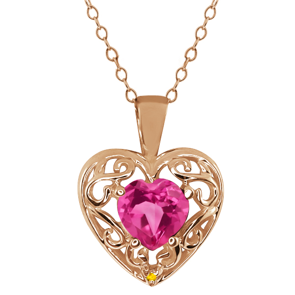 0.91 Ct Heart Shape Pink Mystic Topaz Simulated Citrine 18K Rose Gold Pendant by