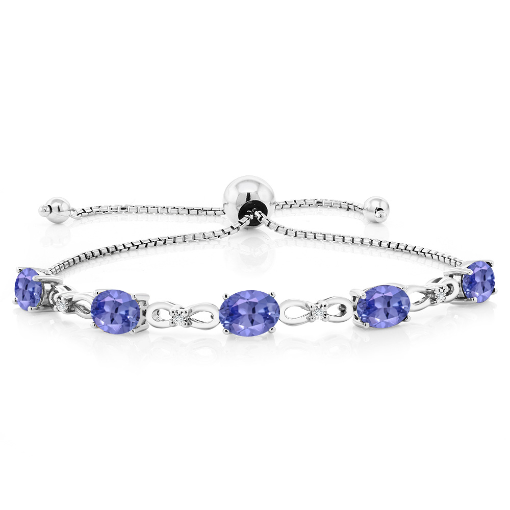 5.80 Ct Blue Tanzanite Diamond 925 Sterling Silver AdjusPing Pong Bracelet by
