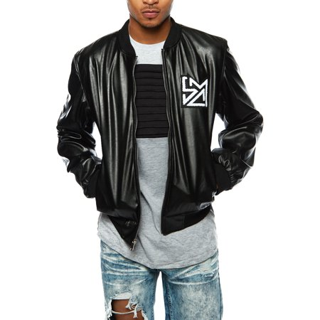 Mens PU Faux Leather Skull Patch Fashion Casual Biker Bomber Jacket - Mens Biker Jacket