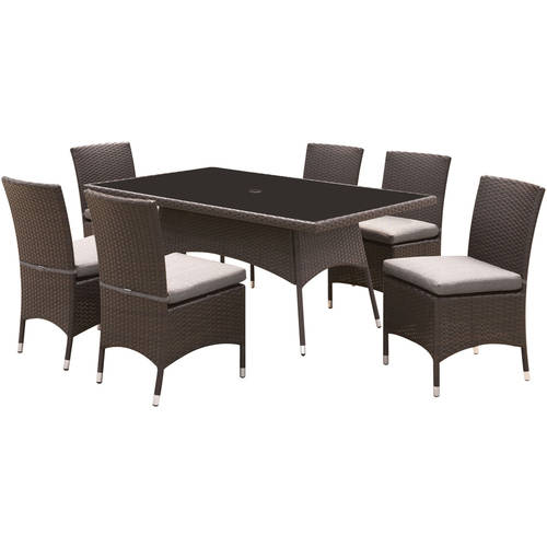 Furniture of America Carrie 7-Piece Patio Dining Room Set, Gray and Espresso by Furniture of America