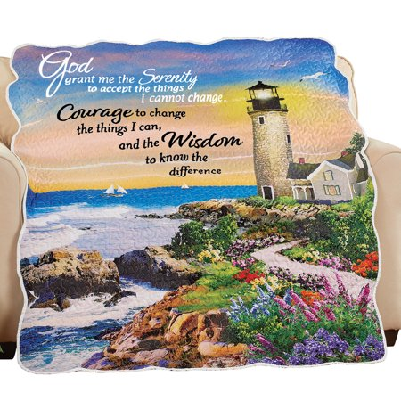 Serenity Prayer Seaside Lighthouse Throw Blanket with Scalloped Edges - Spiritual Home Décor