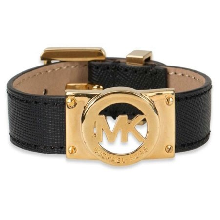 Michael Kors Saffiano Leather Bracelet Black Gold
