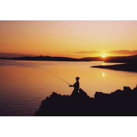Fishing At Sunset Roaring Water Bay Co Cork Ireland Stretched Canvas - The Irish Image Collection  Design Pics (36 x 26)