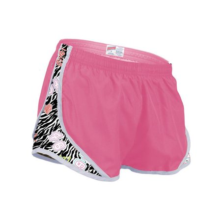 Side Mesh Insert - Girls Shorts with Printed Mesh Side Inserts, Cotton Candy & Team Zebra - Medium