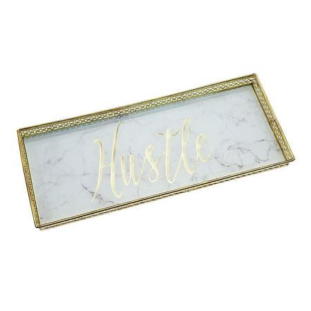 Philip Whitney Glass Jewelry Tray Vanity Dresser Perfume Organizer – Mirror Marble with Metal Trim - Hustle - 12x4 Mirrored Dresser Tray
