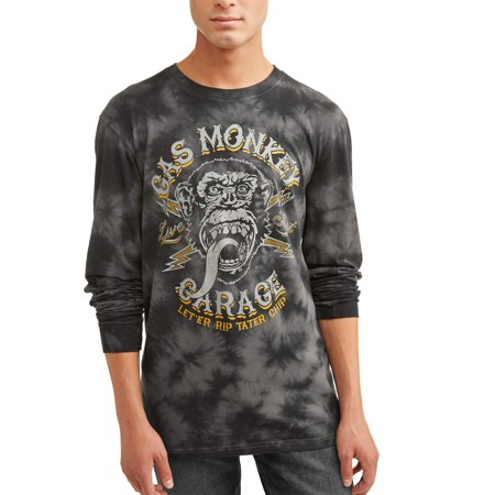 Gas Monkey Men's Long Sleeve Graphic T-Shirt, up to Size 2XL (Monkey Outfits For Adults)
