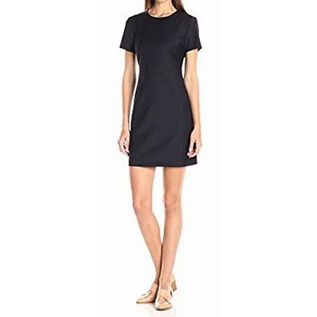 Womens Sheath Mini Dress Solid Seamed Round-Neck 2